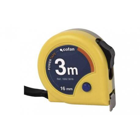 Flexómetro de cinta ancha Cofan con bloqueo y carcasa anctichoque