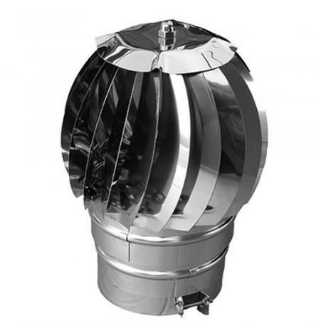 Sombrerete eólico doble pared con cubreaguas 80 mm