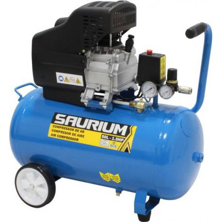 Compresor de aire con motor monofásico Saurium 1.5 Hp 50 Lt 138L/Min