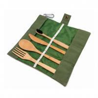 Cubiertos de bambú con funda 4 piezas