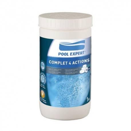Cloro piscinas 4 acciones tratamiento completo tabletas 20 gramos 1 Kg