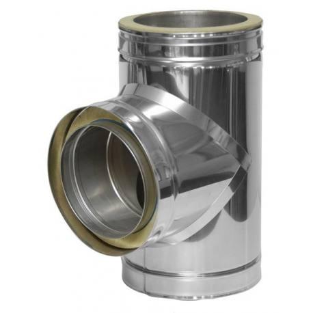 Té chimenea acero inoxidable tubería aislada Dinak DWJ 031 90 grados Aisi 316L-304